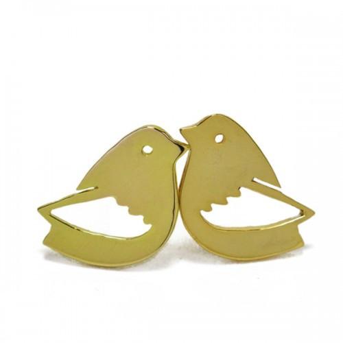 Virginie Millefiori_bird studs gold
