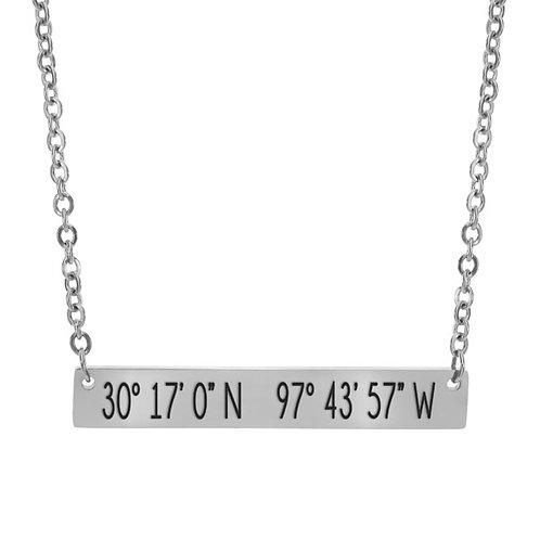 Coordinates Bar Necklace - Austin
