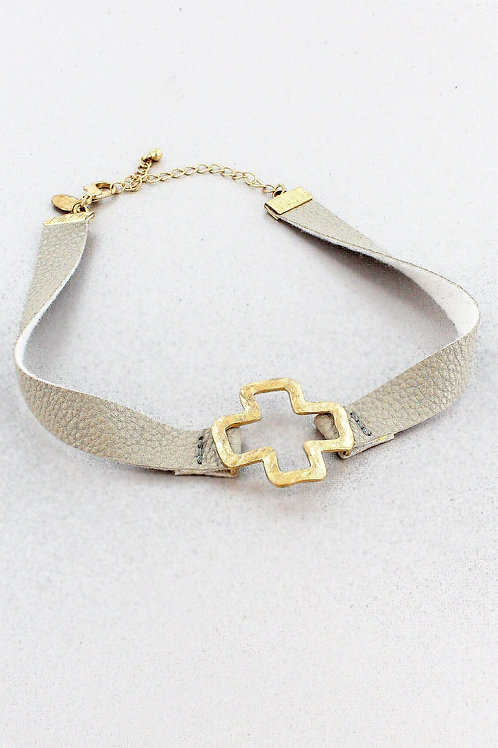 Gray Faux Leather and Worn Goldtone Square Cross Choker
