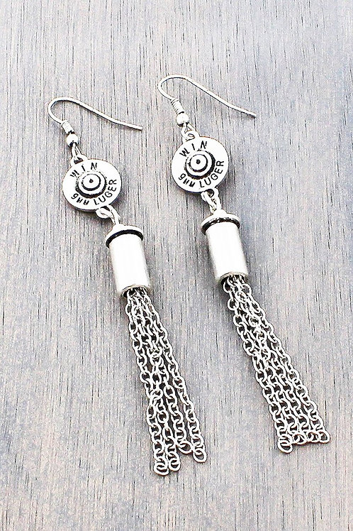 WORN  9MM LUGER BULLET TASSEL EARRINGS