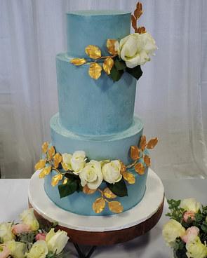 Four tier blue wedding cake VT