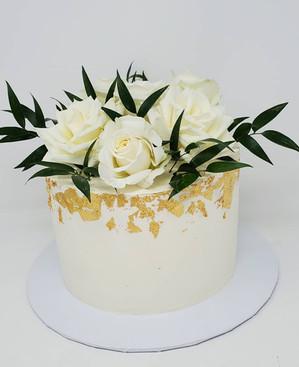 Gold Leaf and Rose cake