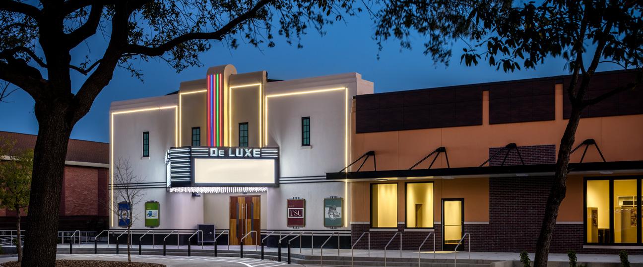 DeLuxe Theatre Front Facade Evening