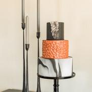 layered marbled wedding cake