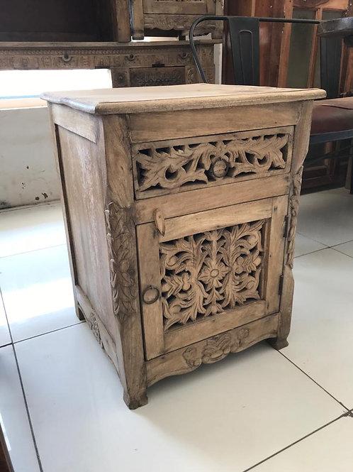 Hand Carved Wood 1 Drawer / 1 Door Bedside Unit