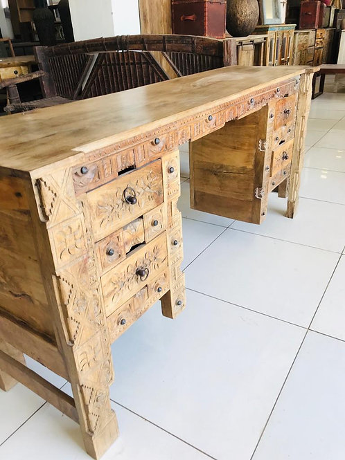 Hand Carved Wood Desk with 4 Draws