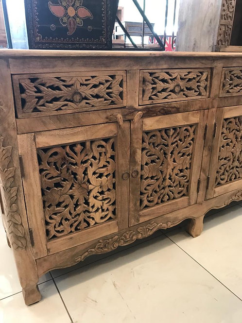 Hand Carved Wood 4 Door 4 Draw Sideboard Unit