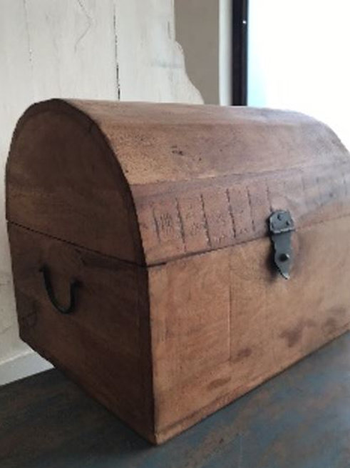 Reclaimed Hand Craved Natural Finish Wooden Box
