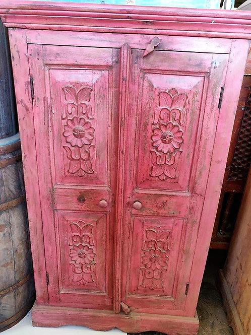 Hand Carved Pink Colour 2 Door Wood Unit