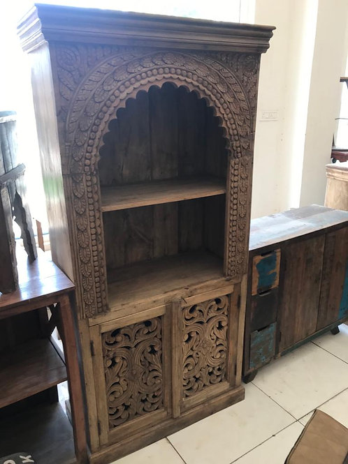 Hand Carved Large 2 Door x 1 Shelf / Display Unit ( Arabesque Design )