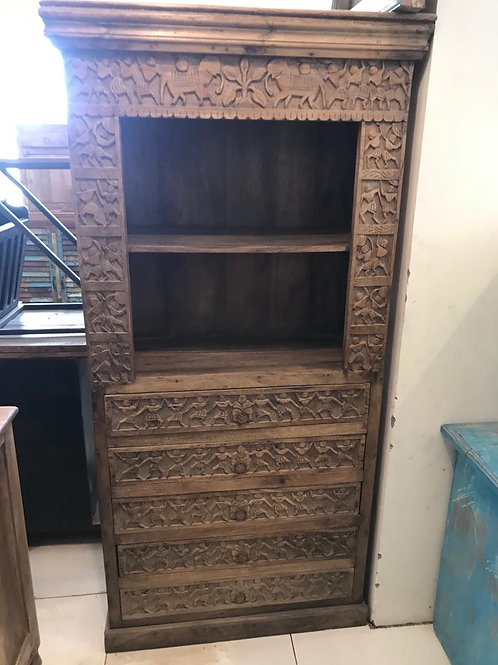 Hand Carved 4 Draw Large Shelf / Display Unit Natural Finish