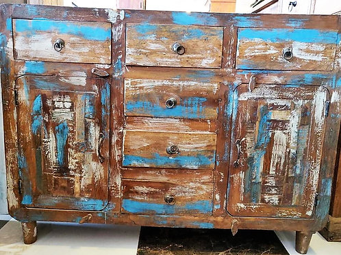 Distressed 6 Drawer Wood Unit