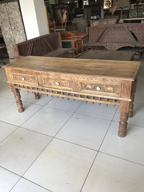 Hand Carved 3 Draw Wood Console Table