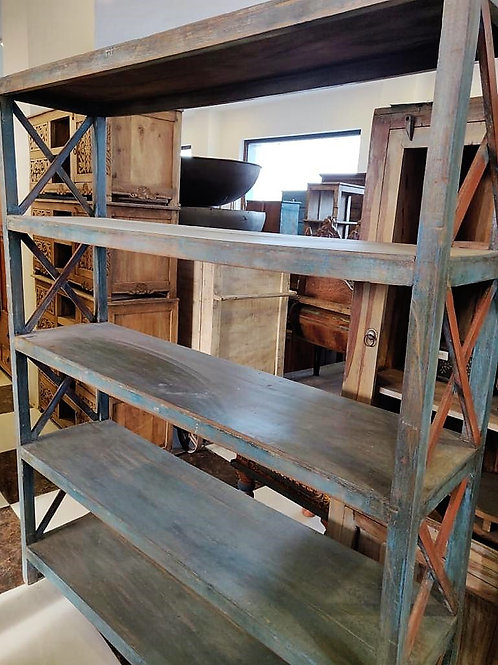Large Wood Shelf Unit (Blue Wash)