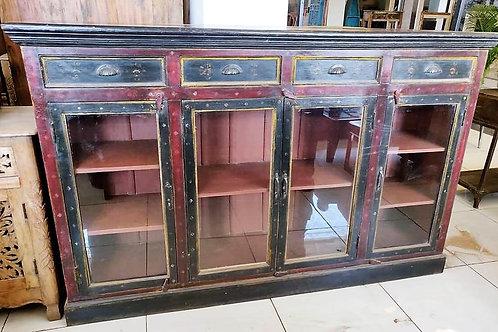 Hand Painted Glass Door Wooden Cabinet