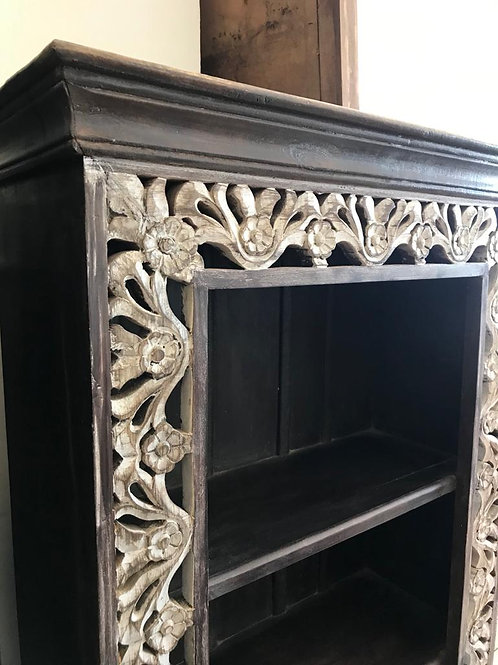 Hand Carved Large Shelf Unit in DK Stained Outer and Shelves & White Wash Carvin