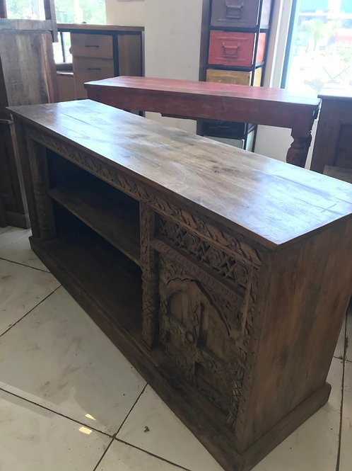 Hand Carved Media Stand with 2 Doors (Dark Natural Finish)
