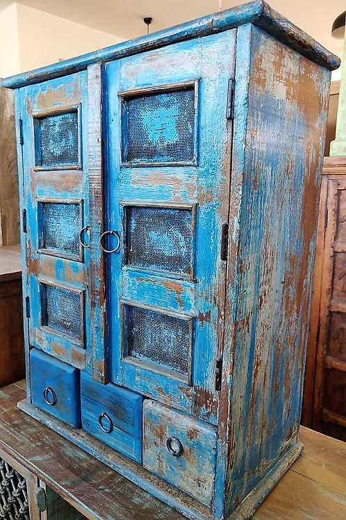 3Drawer Blue Wash Wood Unit