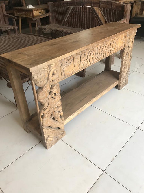 Hand Carved Wood Large Console Table