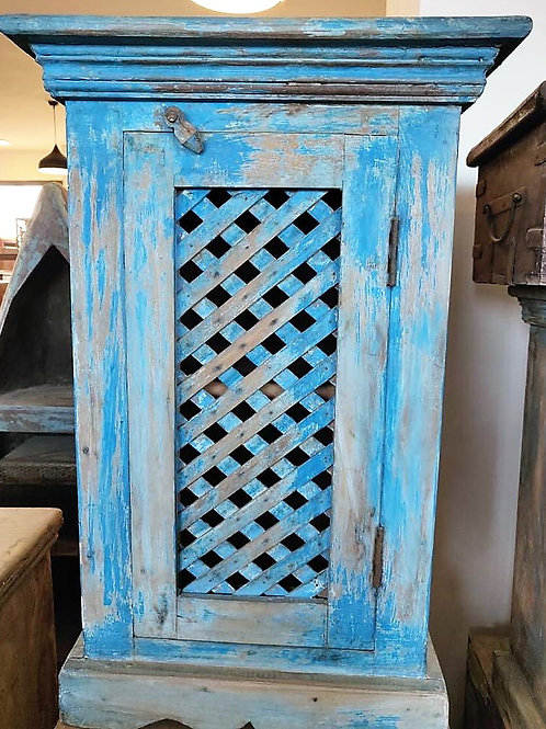 Blue Wash Jali Door Unit