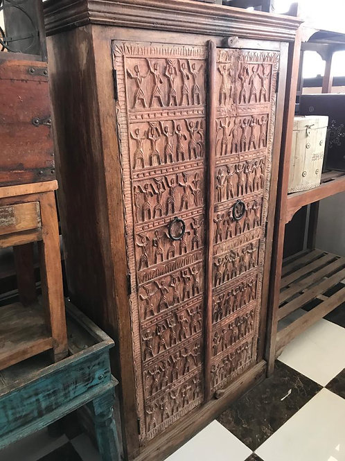 Large Hand Carved Wood 2 Door Cabinet with Shelves