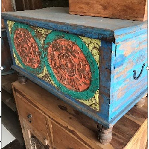 Reclaimed Hand Craved Blue Wash Chest Box