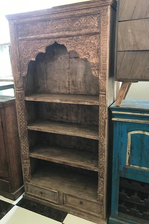Hand Carved Large 3 Shelf Unit - 2 Drawers in Natural Finish ( Arabesque look )