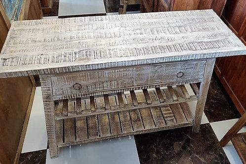White Wash 2 Drawer Wood Unit