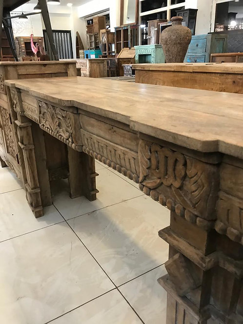 Hand Carved Long Console Table Natural Finish