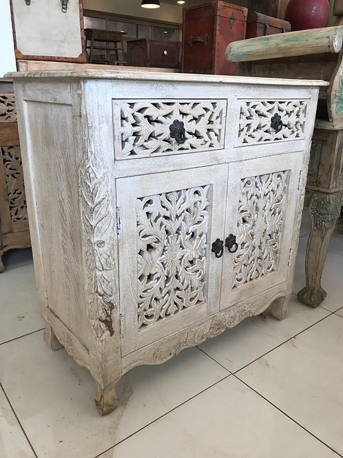 Hand Carved White Wash 2 Draw / 2 Door Unit Mango Wood