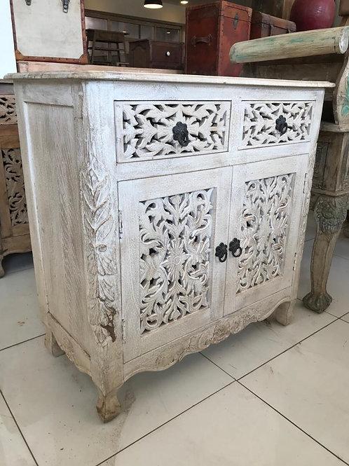 Hand Carved White Wash 2 Draw / 2 Door Unit Mango Wood