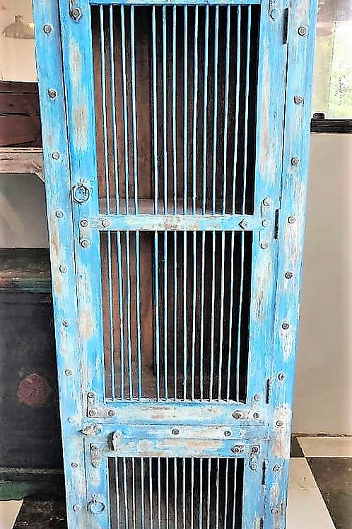 Blue Wash Jali Door Wood Unit