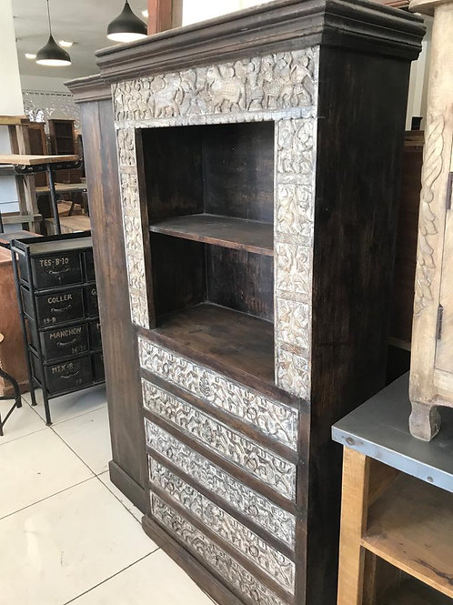 Hand Carved Wood 5Draw Large Shelf / Display Cabinet ( Dark Stained Wood Outer .