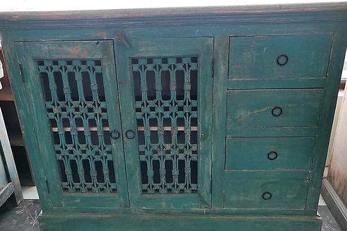 Green Wash Jali 2 Door 4 Drawer Wood Unit