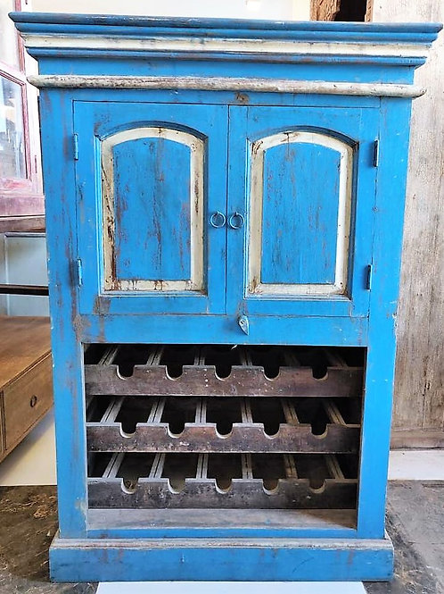 Blue Colour Wood Wine Rack