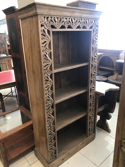 Hand Carved Large Shelf Unit Natural Finish