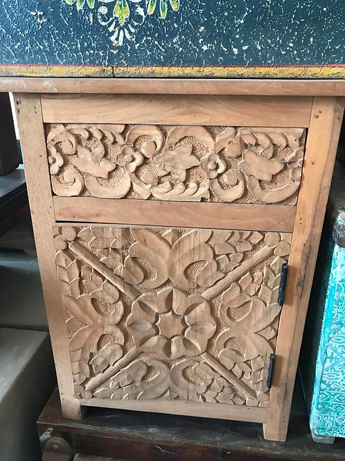 Hand Carved 1 Door 1 Draw Bedside Cabinet