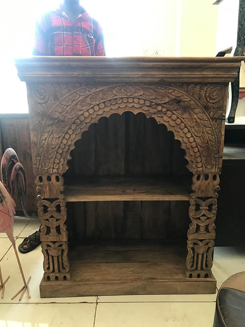 Hand Carved Shelf Unit Natural Finish
