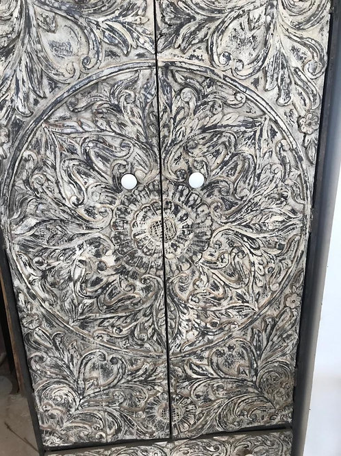 Hand Carved Flower Mandala Design 2 Door 2 Draw Large Shelf Unit (Dark Stained O
