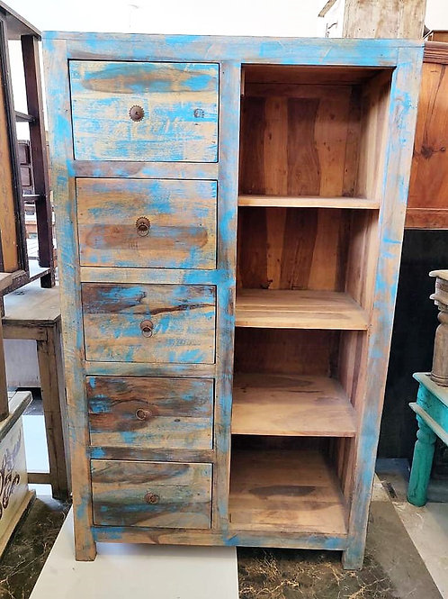 Blue Wash 5 Drawer Wood Unit