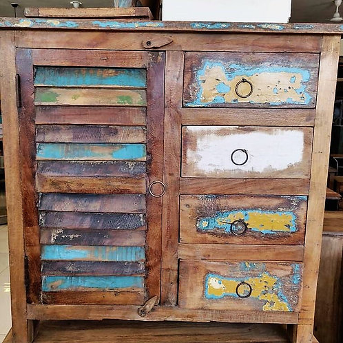 Reclaimed Wood 4Drawer Distressed Unit