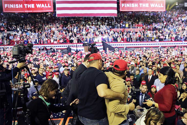 BBC cameraman 'violently pushed and shoved' at Trump rally
