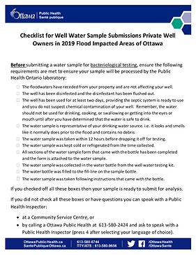 Checklist for well samples after a flood