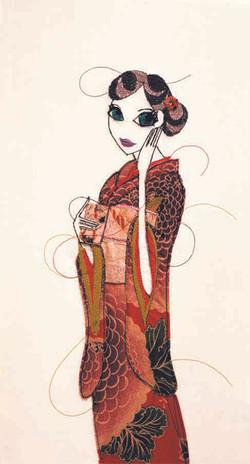 着物を着る蜻蛉婦人