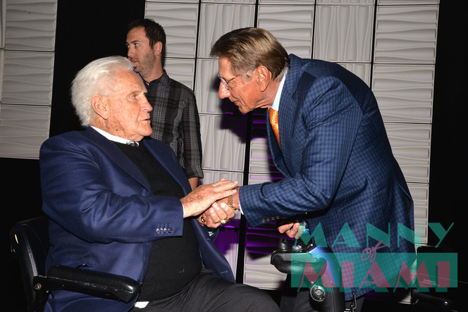 From One Legend to Another. Don Shula Presents Award to Joe Namath on Miami Beach