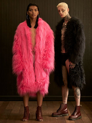 The Faux Fur Coat : pink / black