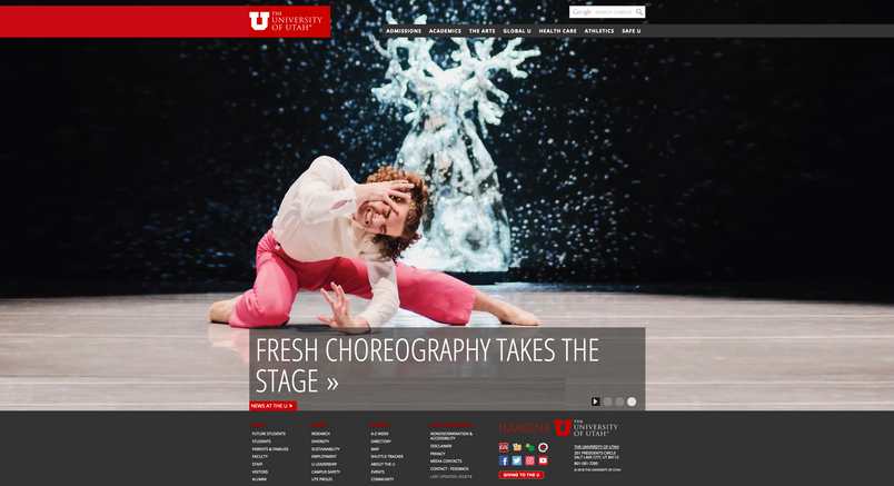 University of Utah Home Page - November 2018