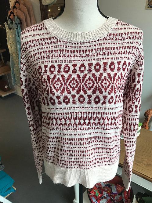 Hem & Thread Burgundy and Cream Sweater