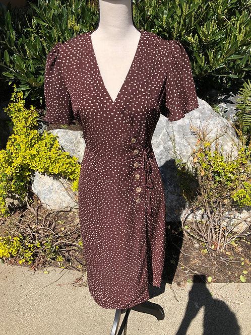 Blu Pepper Brown Polka Dot Spring Wrap Dress
