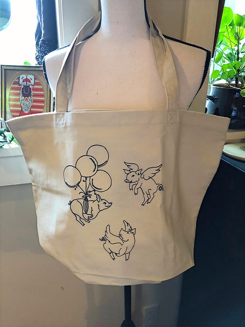 Revival Ink's When Pigs Fly Tote Bag